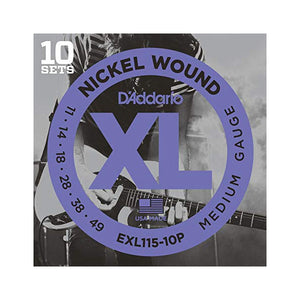 D'Addario EXL115-10P Medium Electric Guitar Strings (11-49) - 10 Sets