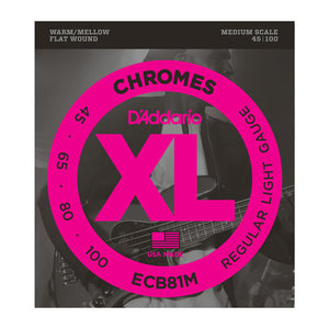 D'Addario ECB81M Light Chromes Flat Wound Medium Scale Bass Strings (45-100) - Downtown Music Sydney