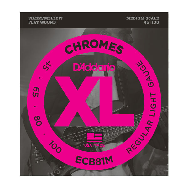 D'Addario ECB81M Light Chromes Flat Wound Medium Scale Bass Strings (45-100)