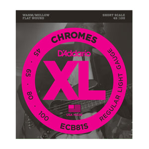 D'Addario ECB81S Light Chromes Flat Wound Short Scale Bass Strings (45-100) - Downtown Music Sydney