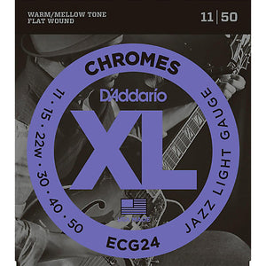 D'Addario ECG24 Jazz Light Chromes Flat Wound Electric Guitar Strings (11-50) - Downtown Music Sydney