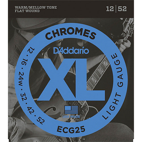 D'Addario ECG25 Light Chromes Flat Wound Electric Guitar Strings (12-52)