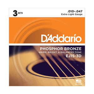 D'Addario EJ15-3D Extra Light Phosphor Bronze Acoustic Guitar Strings (10-47) - 3 Sets - Downtown Music Sydney