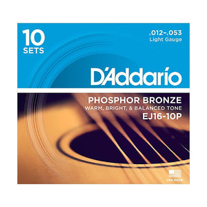 D'Addario EJ16-10P Light Phosphor Bronze Acoustic Guitar Strings (12-53) - 10 Sets - Downtown Music Sydney