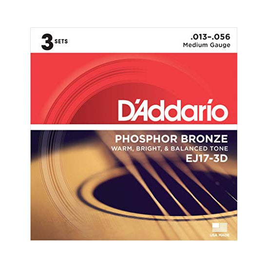 D'Addario EJ17-3D Medium Phosphor Bronze Acoustic Guitar Strings (13-56) - 3 Sets