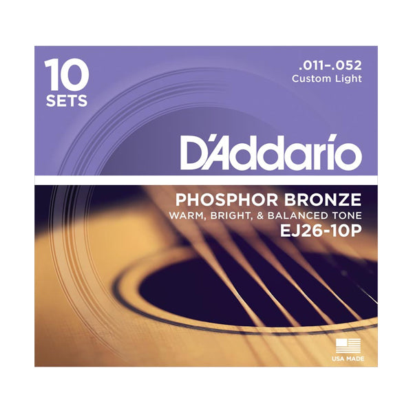 D'Addario EJ26-10P Custom Light Phosphor Bronze Acoustic Guitar Strings (11-52) - 10 Sets
