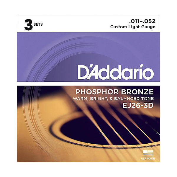 D'Addario EJ26-3D Custom Light Phosphor Bronze Acoustic Guitar Strings (11-52) - 3 Sets