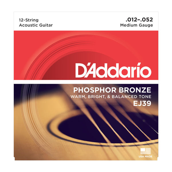 D'Addario EJ39 Medium Phosphor Bronze 12-String Acoustic Guitar Strings (12-52)