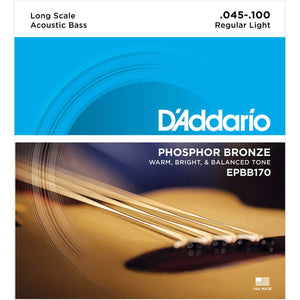 D'Addario EPBB170 Regular Light Phosphor Bronze Acoustic Bass Strings (45-100) - Downtown Music Sydney