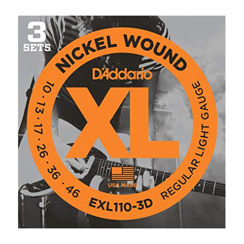 D'Addario EXL110-3D Regular Light Electric Guitar Strings (10-46) - 3 Sets