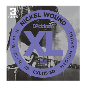 D'Addario EXL115-3D Medium Electric Guitar Strings (11-49) - 3 Sets - Downtown Music Sydney