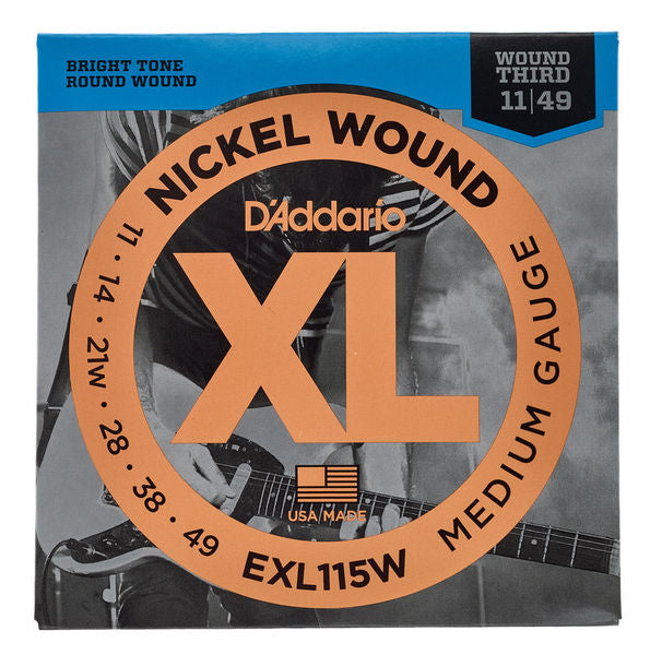 D'Addario EXL115W Medium Electric Guitar Strings with Wound 3rd (11-49)