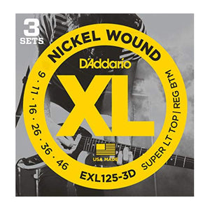 D'Addario EXL125-3D Super Light Top / Regular Bottom Electric Guitar Strings (9-46) - 3 Sets - Downtown Music Sydney