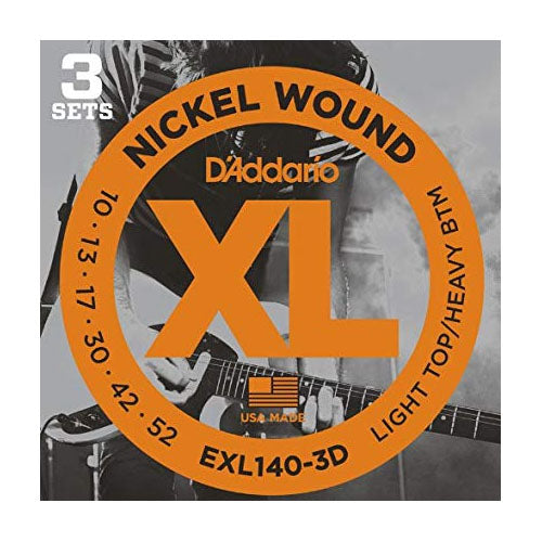 D'Addario EXL140-3D Light Top / Heavy Bottom Electric Guitar Strings (10-52) - 3 Sets