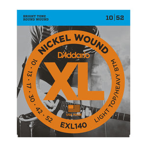 D'Addario EXL140 Light Top / Heavy Bottom Electric Guitar Strings (10-52) - Downtown Music Sydney