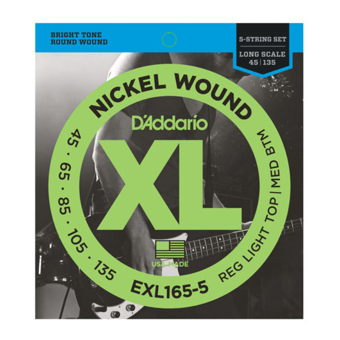 D'Addario EXL165-5 Custom Light 5-String Bass Strings (45-135)