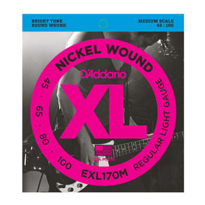 D'Addario EXL170M Light Medium Scale Bass Strings (45-100) - Downtown Music Sydney