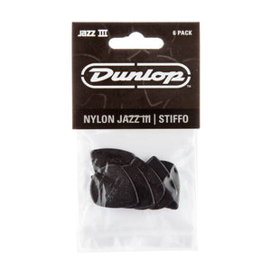Dunlop Jazz III Black Stiffo Picks 6 Pack - Downtown Music Sydney