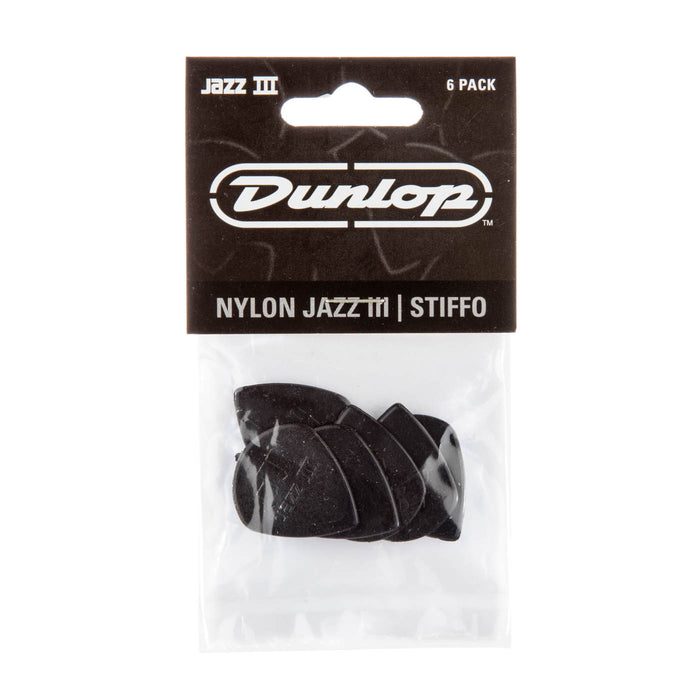 Dunlop Jazz III Black Stiffo Picks 6 Pack