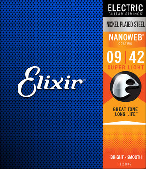 Elixir 12002 Nanoweb Super Light Electric Guitar Strings (9-42) - Downtown Music Sydney