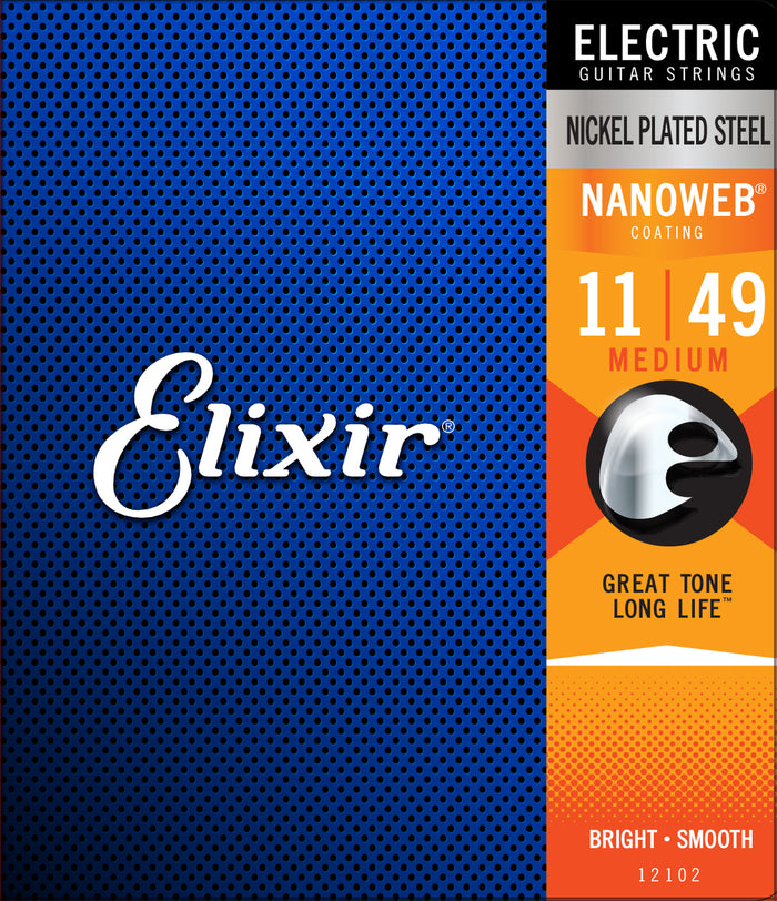 Elixir 12102 Nanoweb Medium Electric Guitar Strings (11-49)
