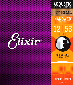 Elixir 16052 Nanoweb Phosphor Bronze Light Acoustic Guitar Strings (12-53) - Downtown Music Sydney