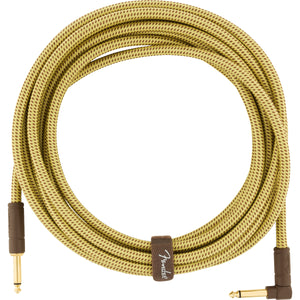 Fender Deluxe Series Instrument Cable Straight-Angle - 18.6ft Tweed - Downtown Music Sydney