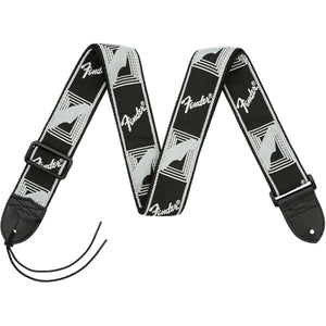 "Fender 2"" Monogrammed Guitar Strap - Black/Light Grey/Dark Grey - Downtown Music Sydney"