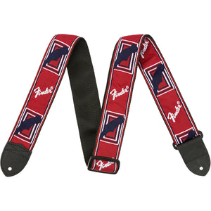 "Fender 2"" Monogrammed Guitar Strap - Red/White/Blue - Downtown Music Sydney"