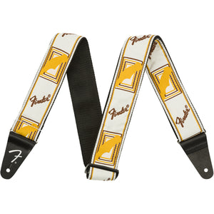 "Fender 2"" Monogrammed Guitar Strap - White/Brown/Yellow - Downtown Music Sydney"