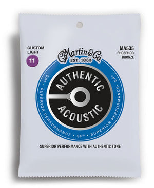 Martin MA535 Authentic Acoustic SP Phosphor Bronze Custom Light Acoustic Guitar Strings (11-52) - Downtown Music Sydney