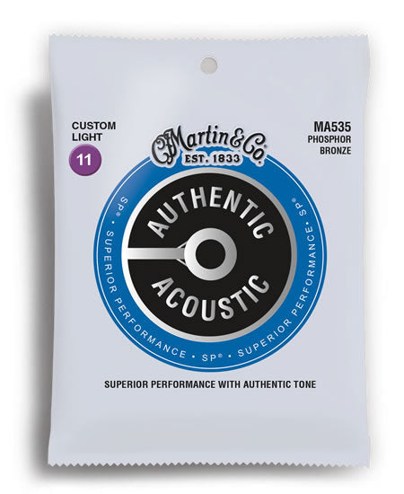 Martin MA535 Authentic Acoustic SP Phosphor Bronze Custom Light Acoustic Guitar Strings (11-52)