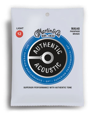 Martin MA540 Authentic Acoustic SP Phosphor Bronze Light Acoustic Guitar Strings (12-54) - Downtown Music Sydney