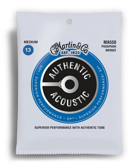 Martin MA550 Authentic Acoustic SP Phosphor Bronze Medium Acoustic Guitar Strings (13-56)