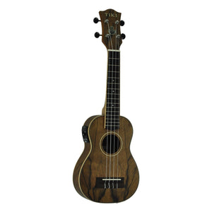 Tiki TDS-4P-NST Daowood Acoustic/Electric Soprano Ukulele with Bag