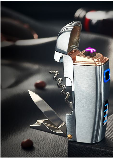 Brushed Silver Plasma Lighter