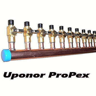 "11/2"" Copper Manifold 5/8"" Pex Uponor ProPEX (With&Without Ball Valve) 2-12 Loop"