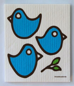 THREE BLUEBIRDS | Swedish Dishcloth