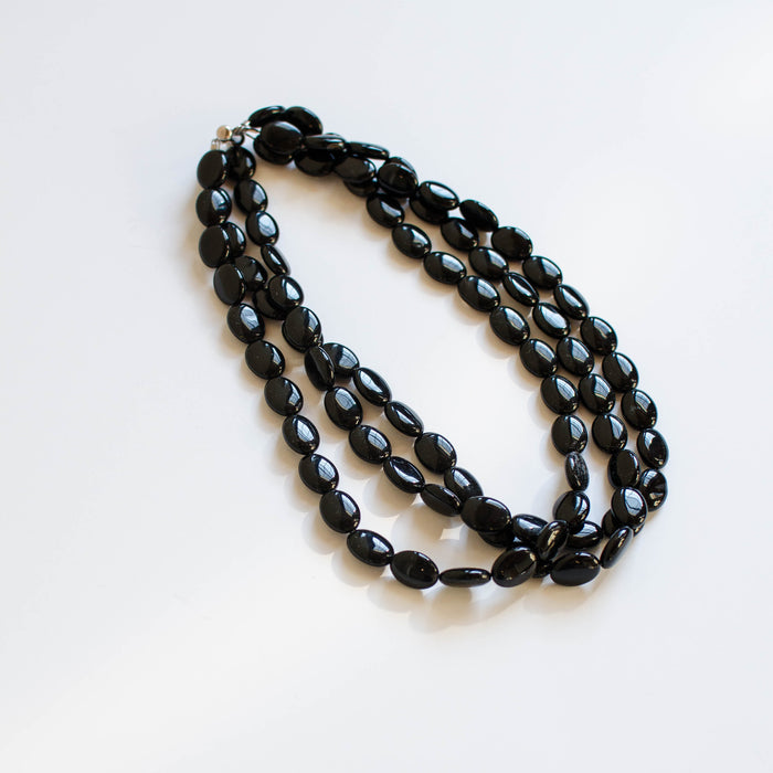 Handmade three-strand black onyx necklace