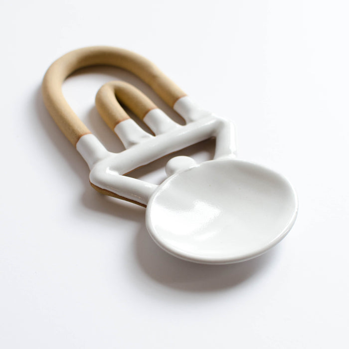 Medium Geometric Serving Spoon | White