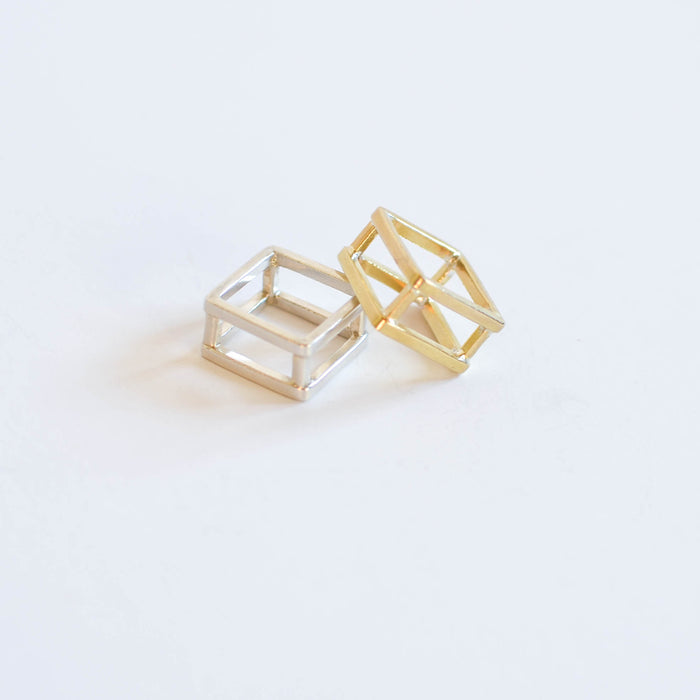 Brass and sterling silver geometric rings