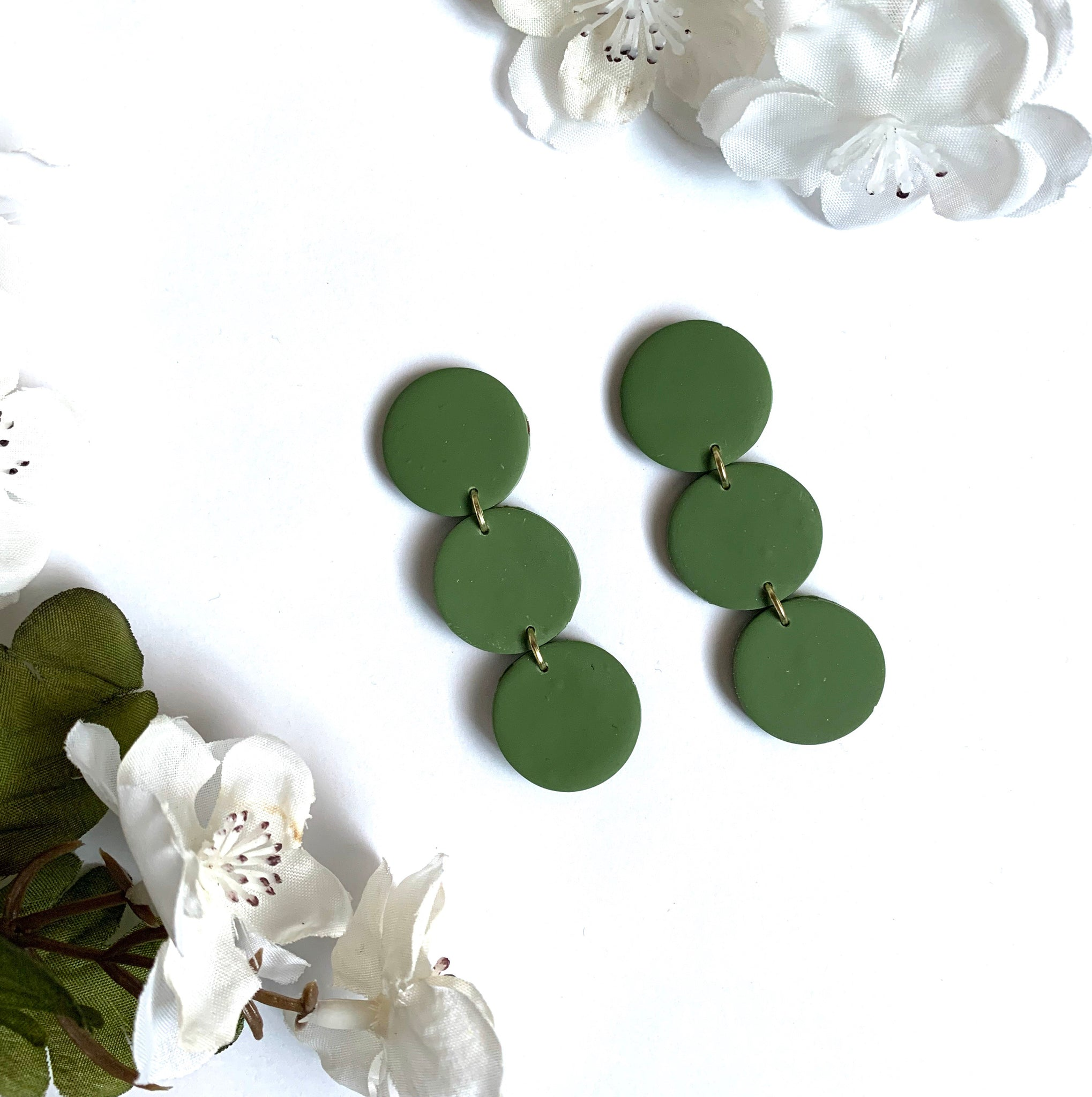 Dark Olive Green Chunky Circle Studs