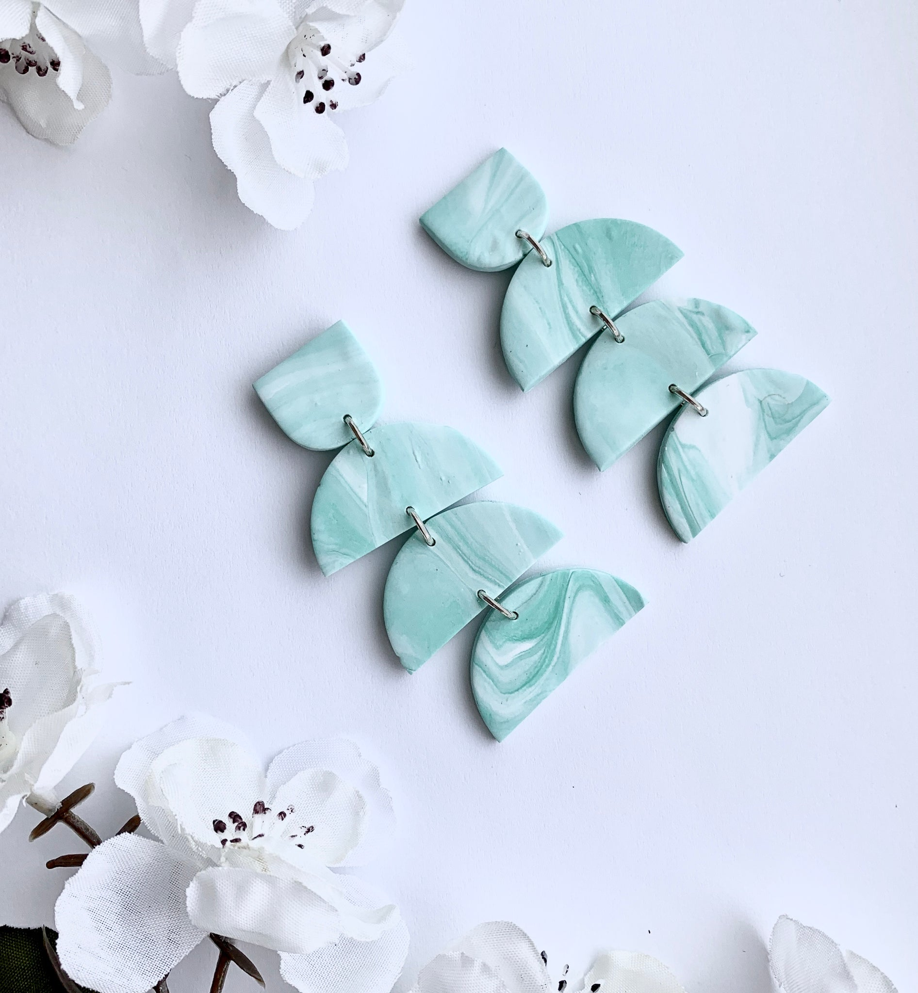 Marbled Mint Four-Tier Chunky Studs