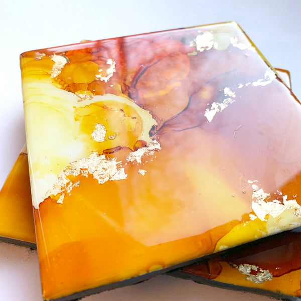 Sun-kissed Orange Coaster Set of Two