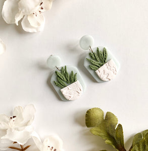 Mint & White Succulent Studs - Rounded