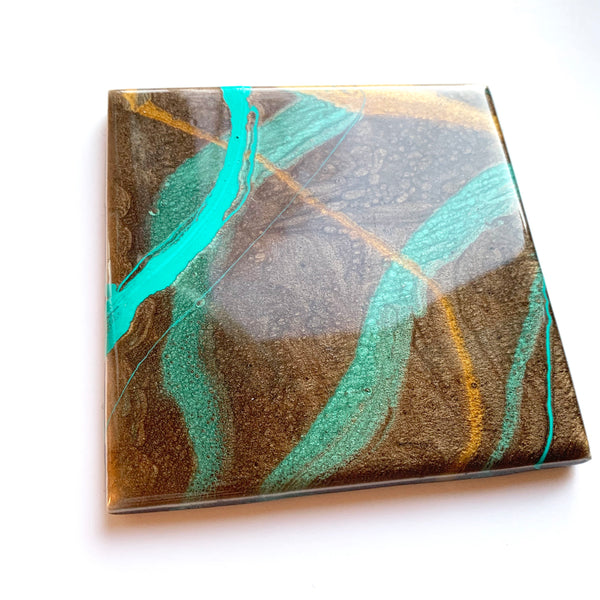 Teal & Brown Abstract Coaster Set of Two