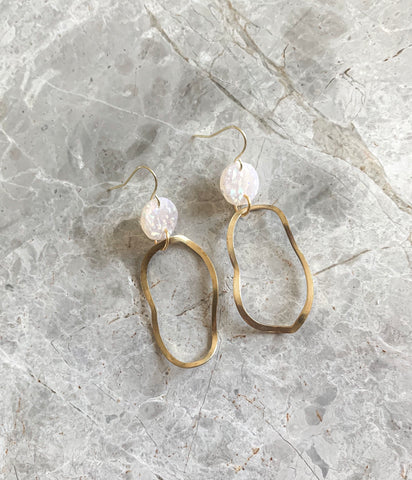 Brass Hoops in Opal