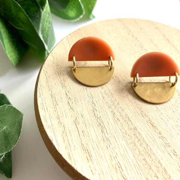Brick Red & Gold Circle Studs