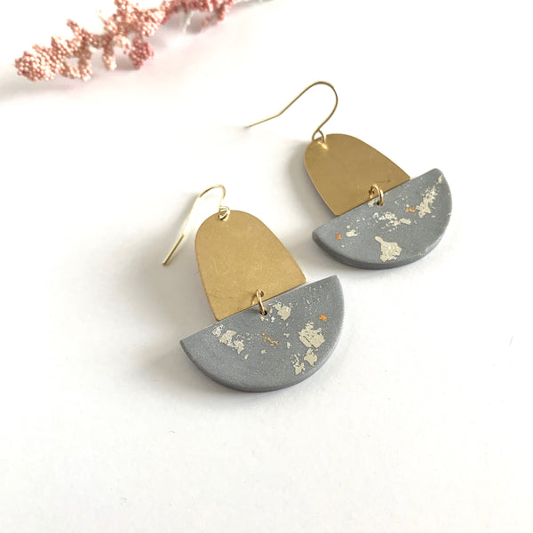 Cloudy Grey Embellished + Gold Classy Earrings