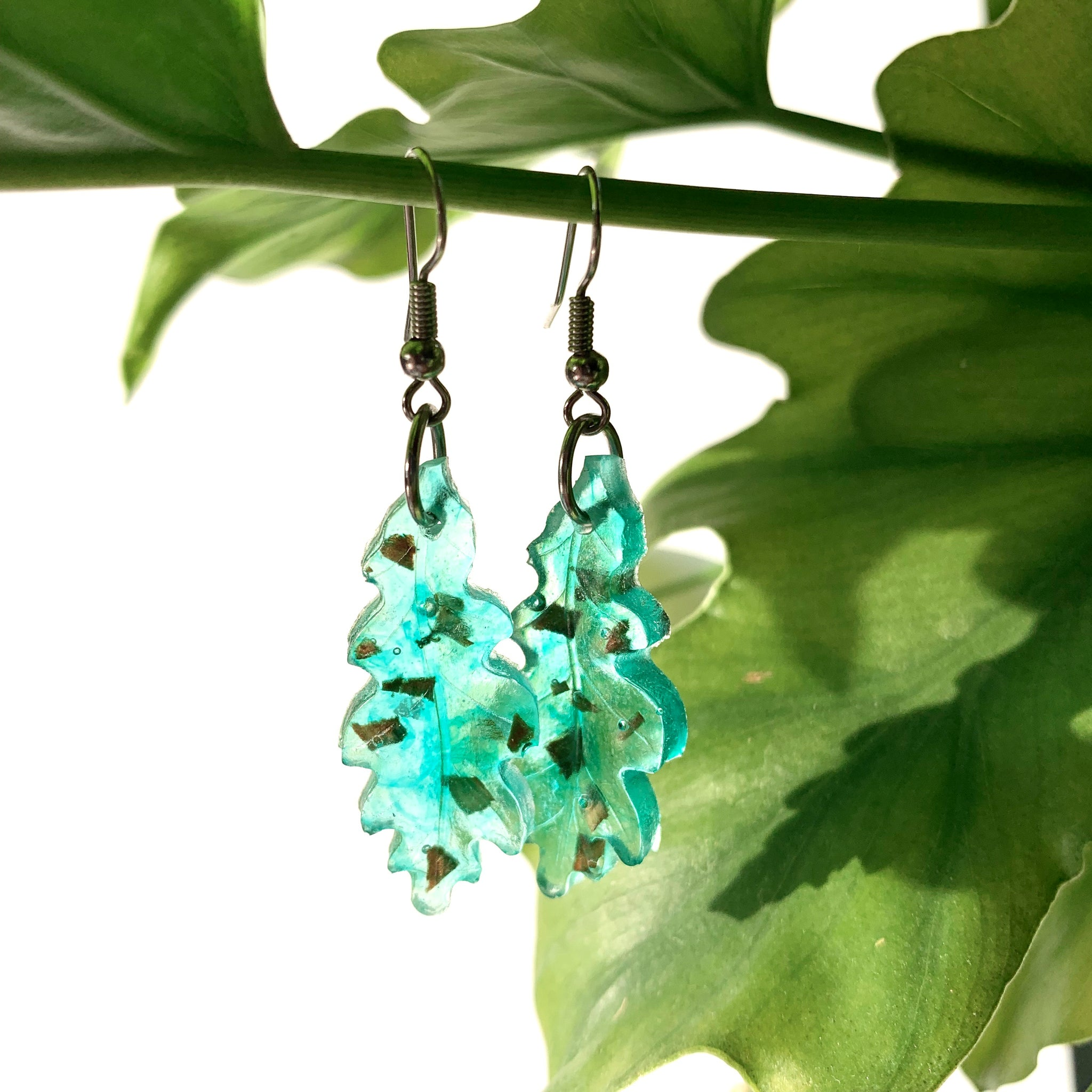 Speckled Wood + Resin Leaf Earrings